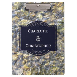 River Pebbles And Water Personalized Wedding Clipboard
