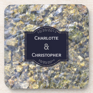 River Pebbles And Water Personalized Wedding Coaster