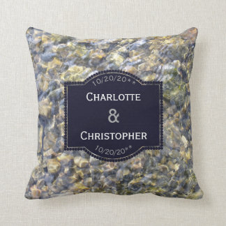 River Pebbles And Water Personalized Wedding Cushion