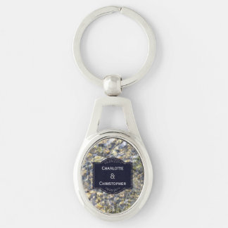 River Pebbles And Water Personalized Wedding Key Ring