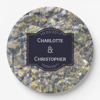 River Pebbles And Water Personalized Wedding Paper Plate