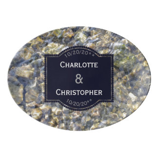 River Pebbles And Water Personalized Wedding Porcelain Serving Platter