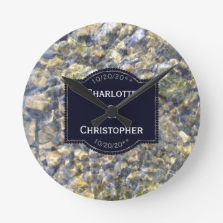 River Pebbles And Water Personalized Wedding Round Clock