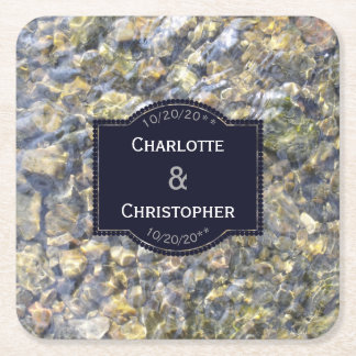 River Pebbles And Water Personalized Wedding Square Paper Coaster