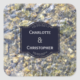 River Pebbles And Water Personalized Wedding Square Sticker
