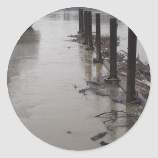 River Pilings Round Sticker