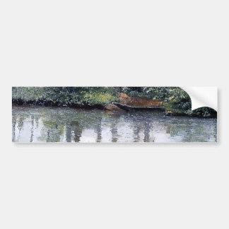 River Rain Water Boat painting Bumper Sticker