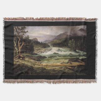 River Rapids Waterfall Mill Throw Blanket