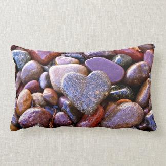 River Rock Heart, Lumbar pillow, w/Scripture Verse Lumbar Cushion