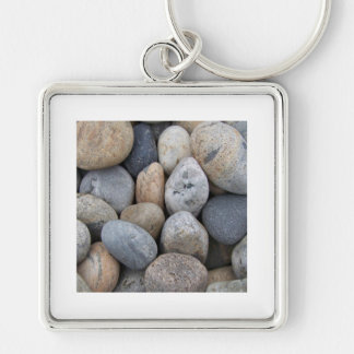 River Rock Silver-Colored Square Key Ring