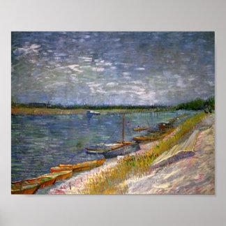 River & Rowing Boats Van Gogh Fine Art Poster