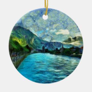 River running through Interlaken Round Ceramic Decoration