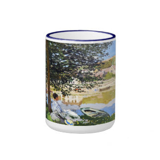 River Scene at Bennecourt, 1868 Claude Monet cool, Ringer Mug