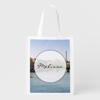 River Seine Eiffel Tower View in Paris, France Reusable Grocery Bag