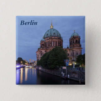 River Spree and Cathedral in Berlin, Germany 15 Cm Square Badge