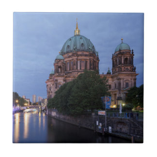 River Spree and Cathedral in Berlin, Germany Small Square Tile