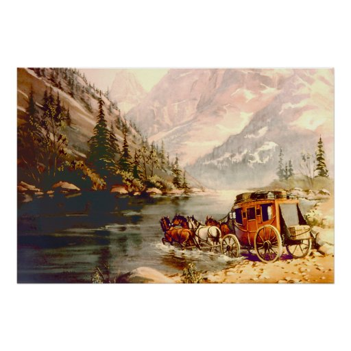 RIVER STAGECOACH CROSSING by SHARON SHARPE Poster