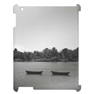 River Themed, Three Rafts Lined Up In  Black And W iPad Cover