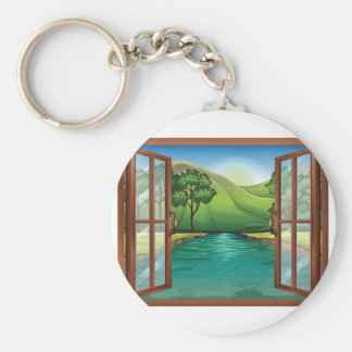 River Through An Open Window Keychain