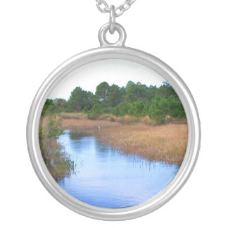 River through marshland savannah swamp picture silver plated necklace
