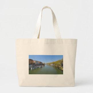 River Tiber in Rome, Italy Large Tote Bag