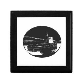 River Tugboat Oval Woodcut Gift Box