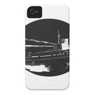 River Tugboat Oval Woodcut iPhone 4 Covers
