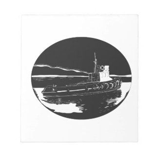 River Tugboat Oval Woodcut Notepad