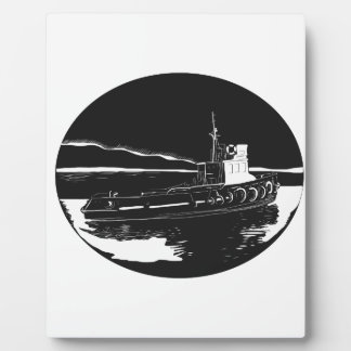 River Tugboat Oval Woodcut Plaque