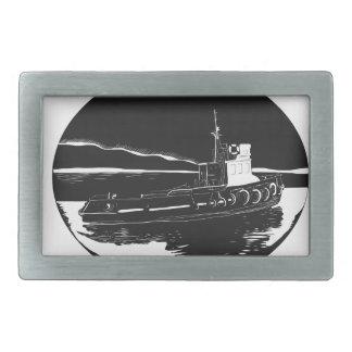 River Tugboat Oval Woodcut Rectangular Belt Buckle