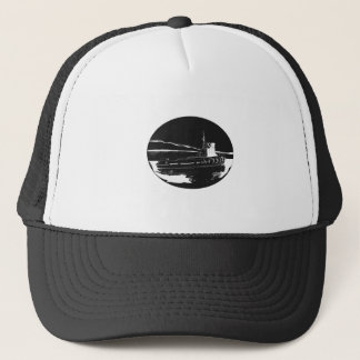 River Tugboat Oval Woodcut Trucker Hat