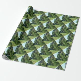 River walk green leaves and trees wrapping paper