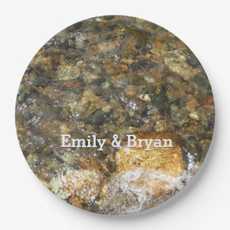 River-Worn Pebbles Brown and Grey Natural Abstract Paper Plate