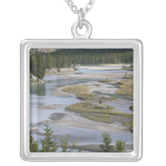 Rivers run through a lowland section of Jasper Square Pendant Necklace