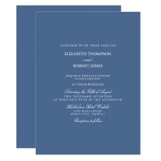 Riverside Blue with White Wedding Detail 14 Cm X 19 Cm Invitation Card