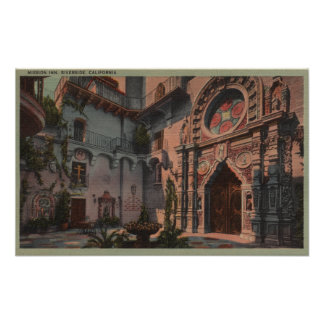 Riverside, CA - View of Mission Inn Courtyard Poster