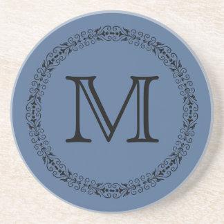 Riverside Rich Ocean Blue Solid Color Monogram Coaster