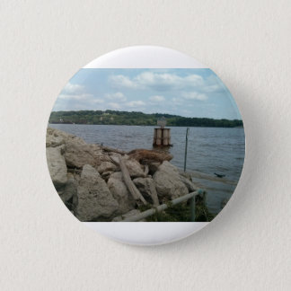 Riverwalk Dubuque Iowa Mississippi River 6 Cm Round Badge