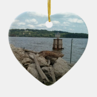 Riverwalk Dubuque Iowa Mississippi River Ceramic Heart Decoration