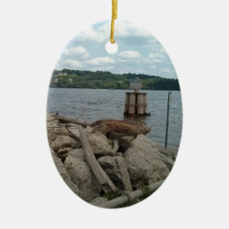 Riverwalk Dubuque Iowa Mississippi River Ceramic Oval Decoration
