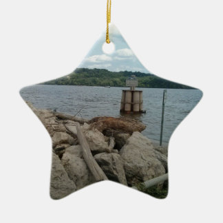 Riverwalk Dubuque Iowa Mississippi River Ceramic Star Decoration