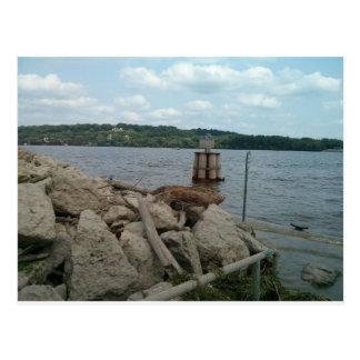 Riverwalk Dubuque Iowa Mississippi River Postcard