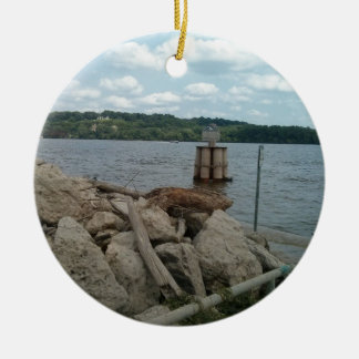 Riverwalk Dubuque Iowa Mississippi River Round Ceramic Decoration
