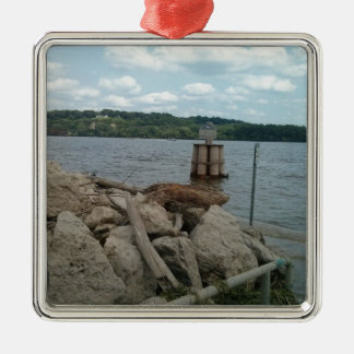 Riverwalk Dubuque Iowa Mississippi River Silver-Colored Square Decoration