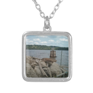 Riverwalk Dubuque Iowa Mississippi River Silver Plated Necklace