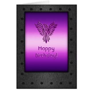Riveted steel-frame purple eagle birthday card