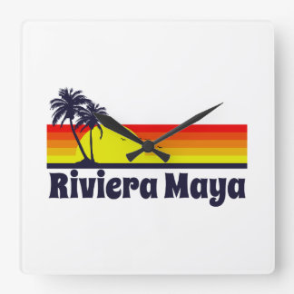 Riviera Maya Square Wall Clock