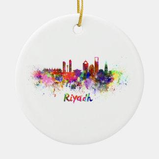 Riyadh skyline in watercolor ceramic ornament