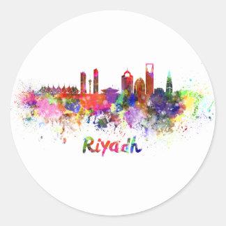 Riyadh skyline in watercolor classic round sticker