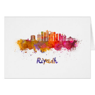 Riyadh V2 skyline in watercolor Card